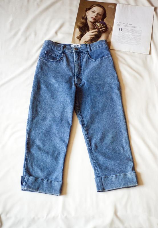 Стильнющие синие джинсовые капри брюки италия, размер m