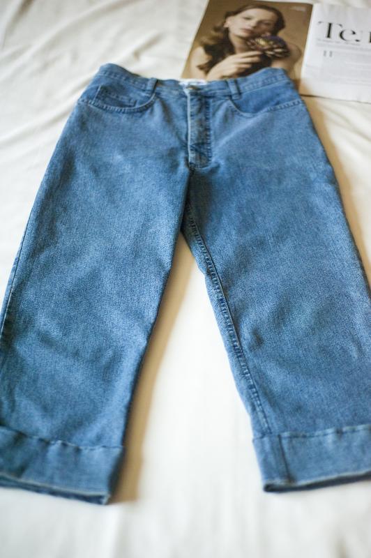Стильнющие синие джинсовые капри брюки италия, размер m - Фото 2