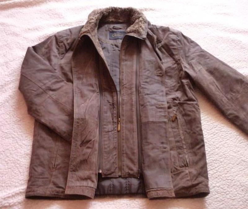 Утеплённая кожаная мужская куртка jc collection. лот 603
