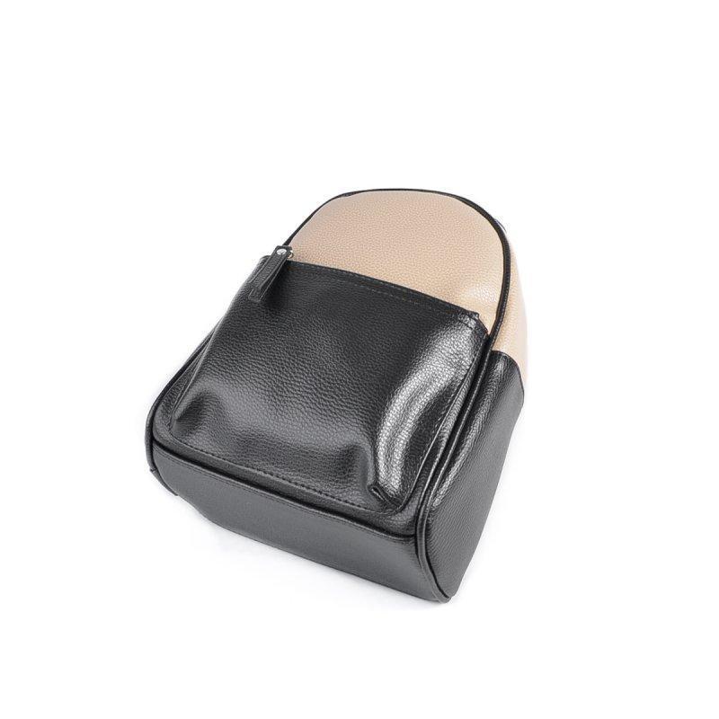 Маленький женский рюкзак из эко-кожи, мини рюкзак беж+ черный - Фото 3