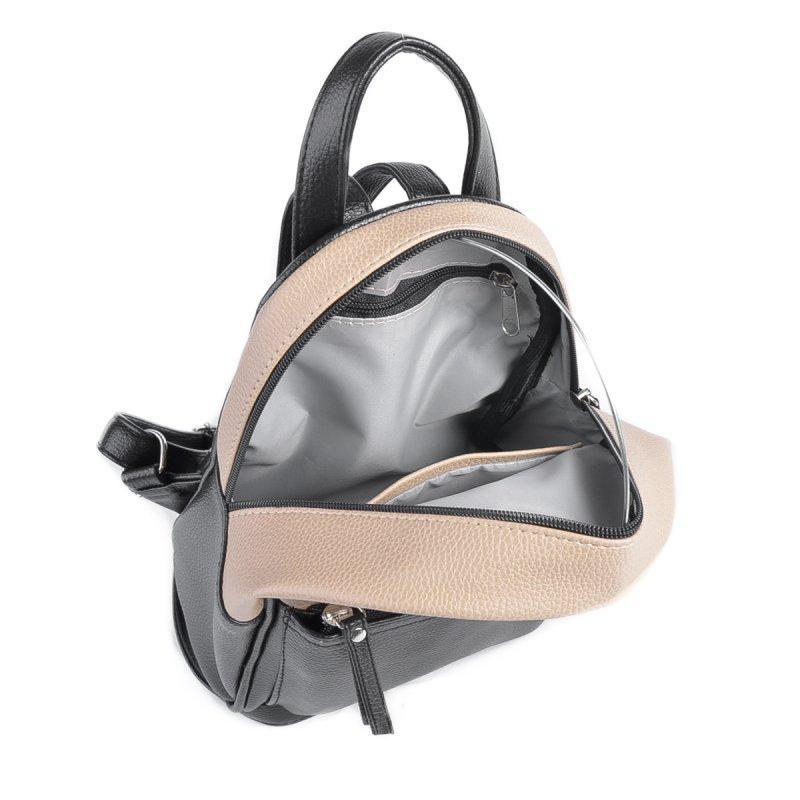 Маленький женский рюкзак из эко-кожи, мини рюкзак беж+ черный - Фото 4