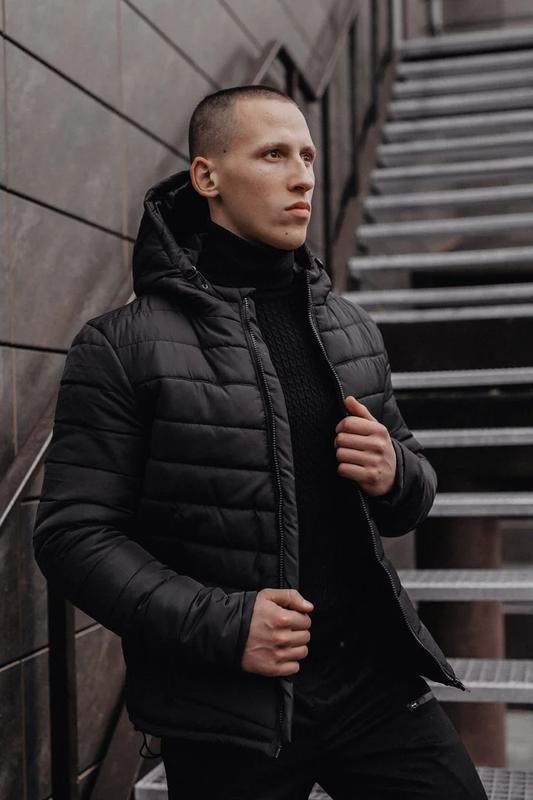 Мужская классическая зимняя куртка pronto black - Фото 2