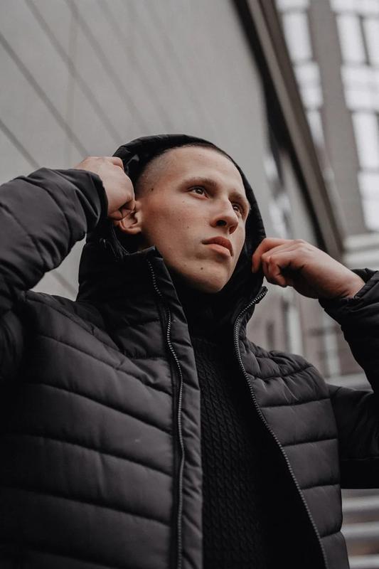 Мужская классическая зимняя куртка pronto black - Фото 4