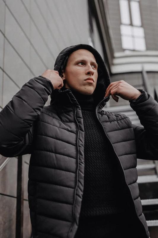 Мужская классическая зимняя куртка pronto black - Фото 3