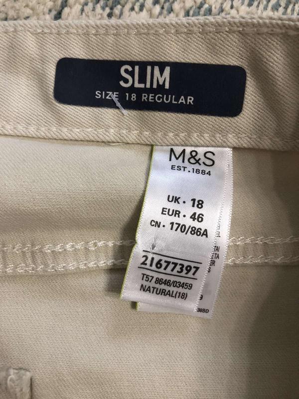 Бежевые джинсы slim marks&spencer, новые! - Фото 7