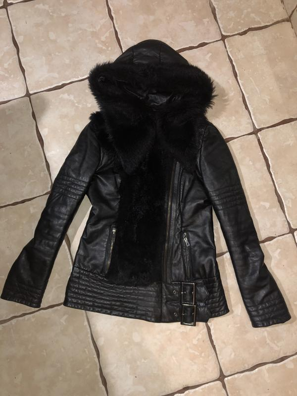 Кожаная куртка пуховик