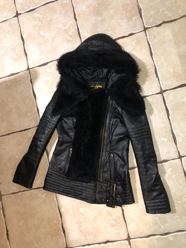 Кожаная куртка пуховик - Фото 3