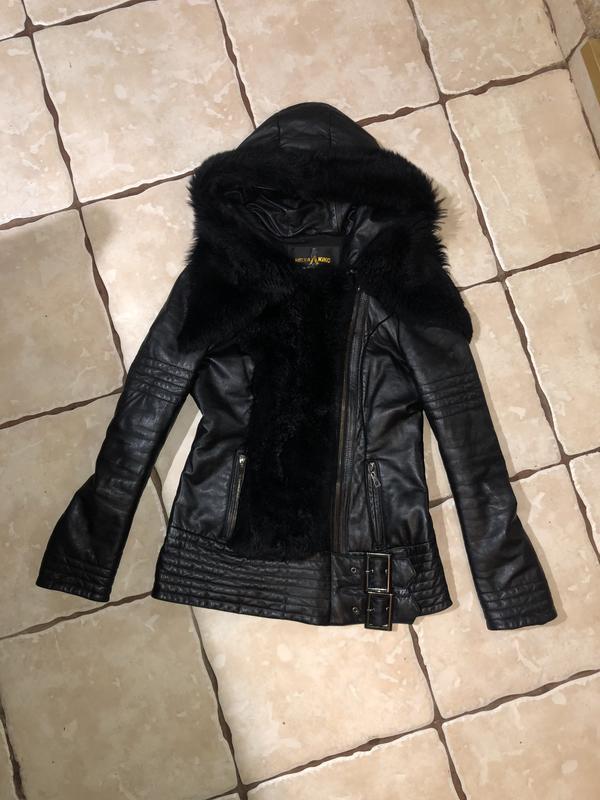 Кожаная куртка пуховик - Фото 4