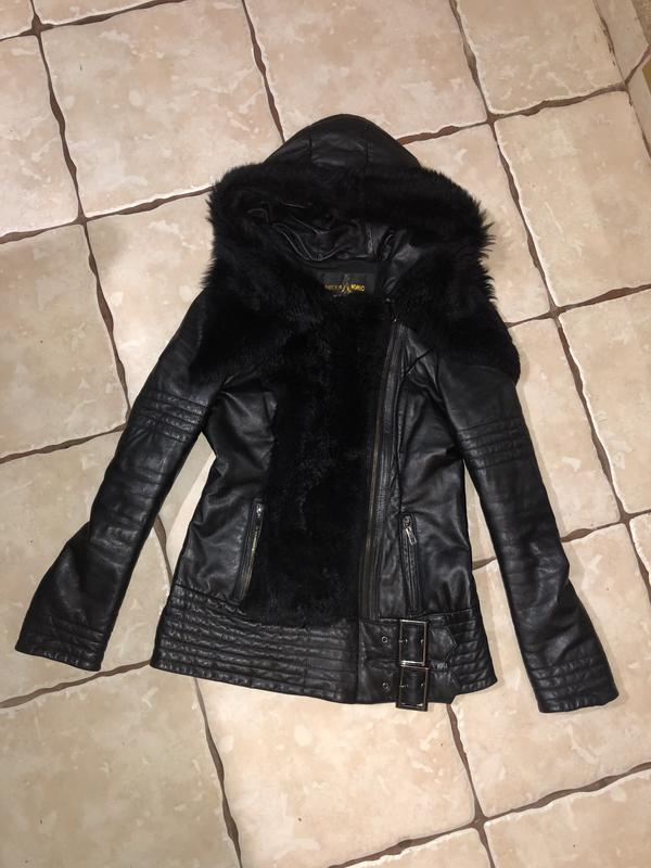 Кожаная куртка пуховик - Фото 5