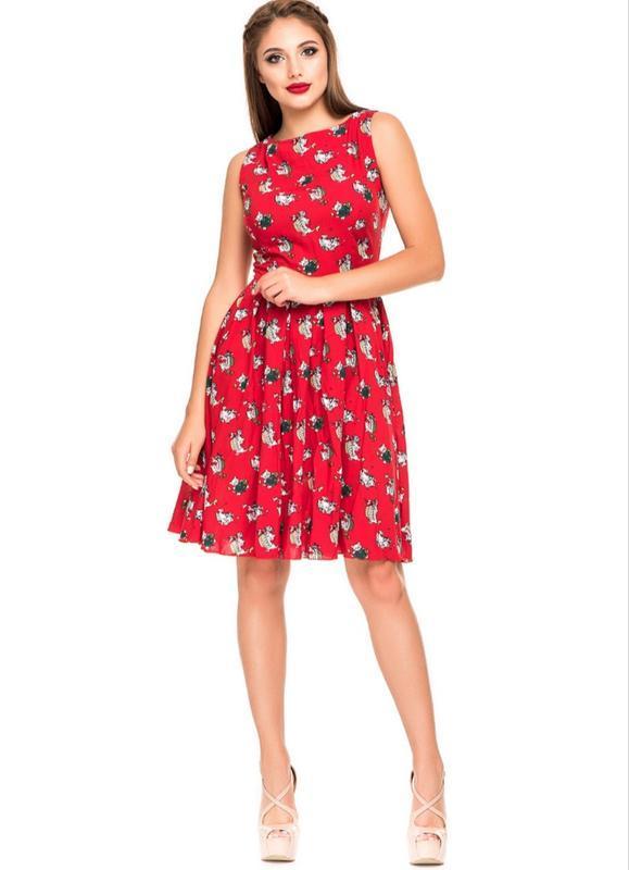 Платье красное летнее хлопок