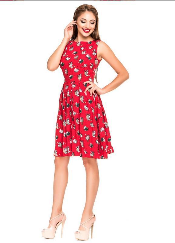 Платье красное летнее хлопок - Фото 2