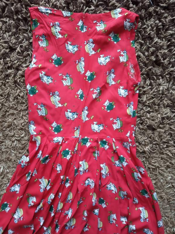 Платье красное летнее хлопок - Фото 3