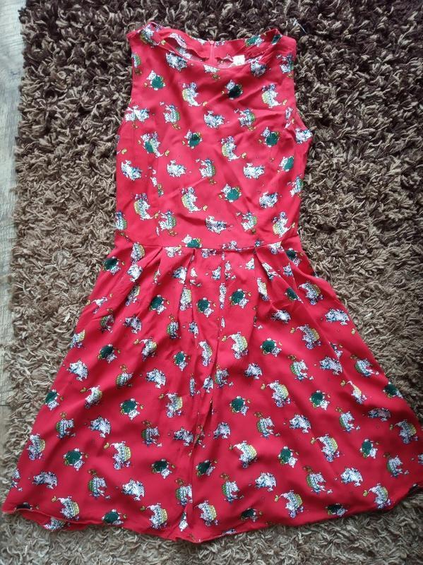 Платье красное летнее хлопок - Фото 4