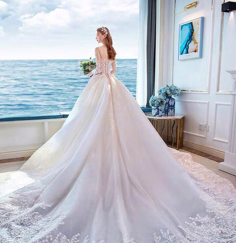 Розкішна весільна сукня на довгий рукав - Фото 2