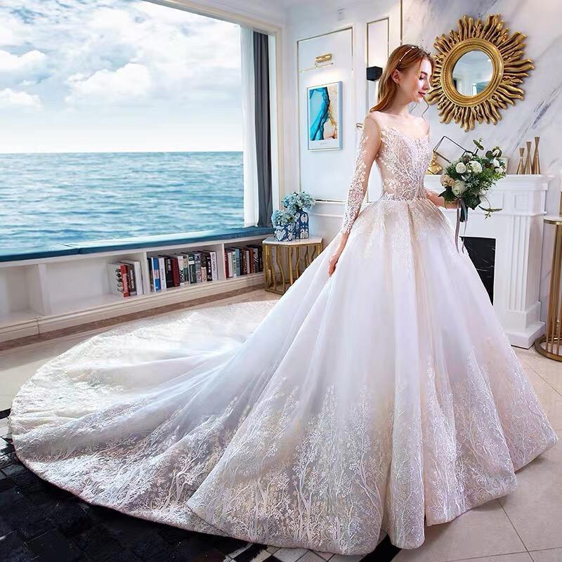 Розкішна весільна сукня на довгий рукав - Фото 3