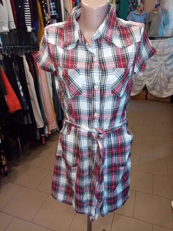 Натуральное платье рубашка в клетку 2= bizzy