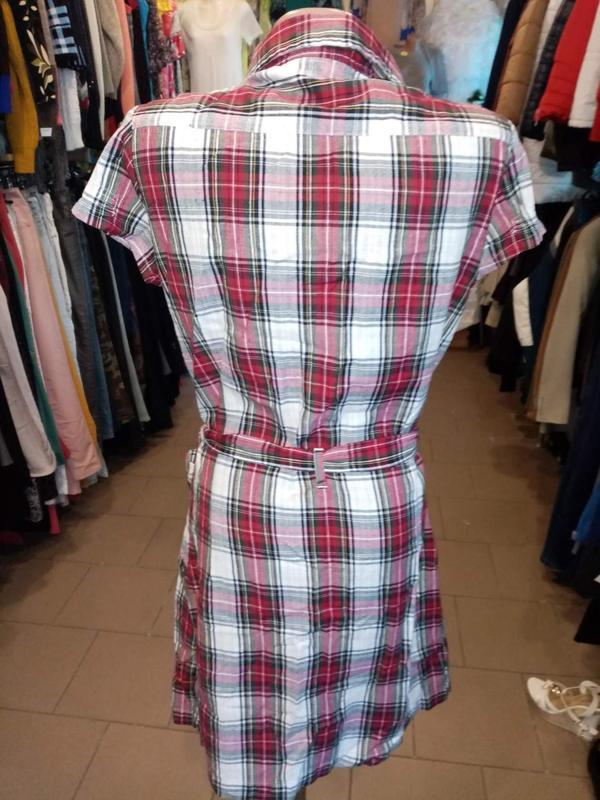 Натуральное платье рубашка в клетку 2= bizzy - Фото 2