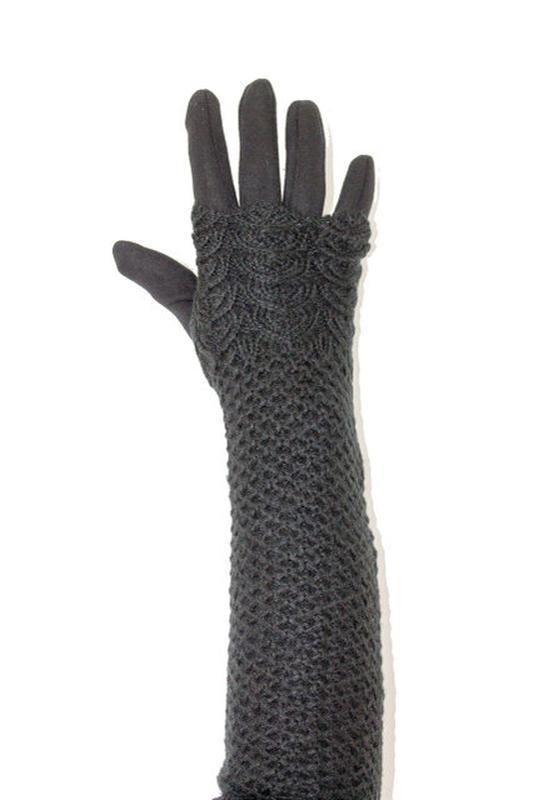 Перчатки +митенки ажурные, длинные зимние.