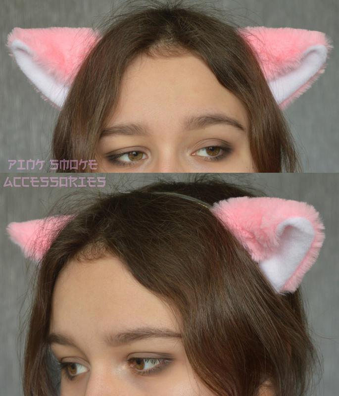 Розовые меховые ушки на обруче, кошачьи ушки, неко ушки, ушки ...