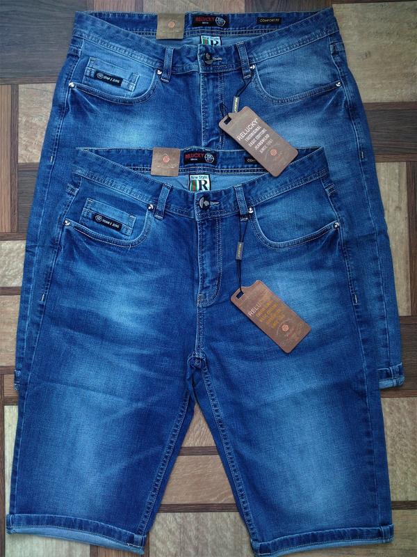 Мужские джинсовые полубатальные шорты 32,33,34,35,38,40,42 ... - Фото 2