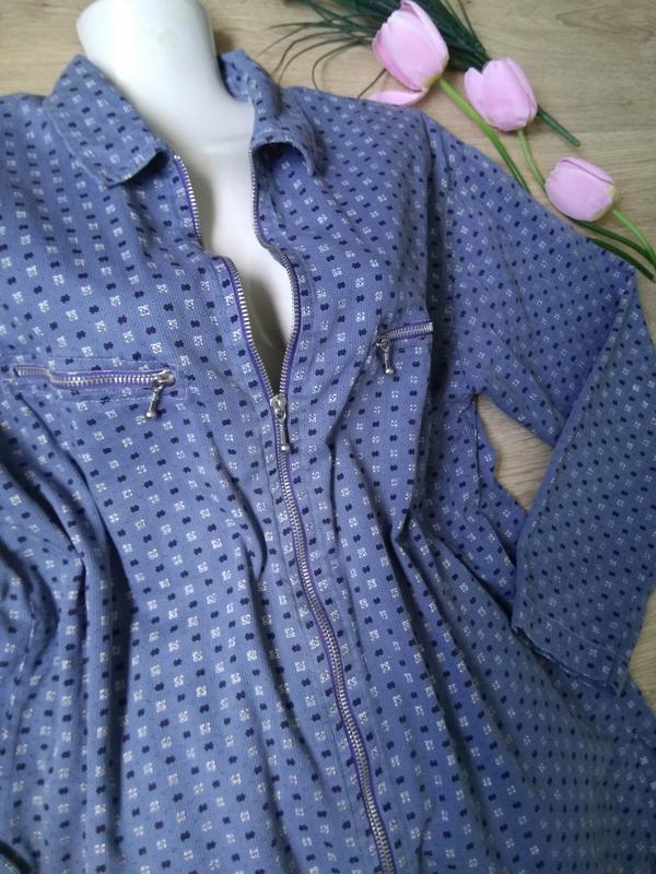 Голубая свободная рубашка на молнии/летняя курточка/кофта/блуз...