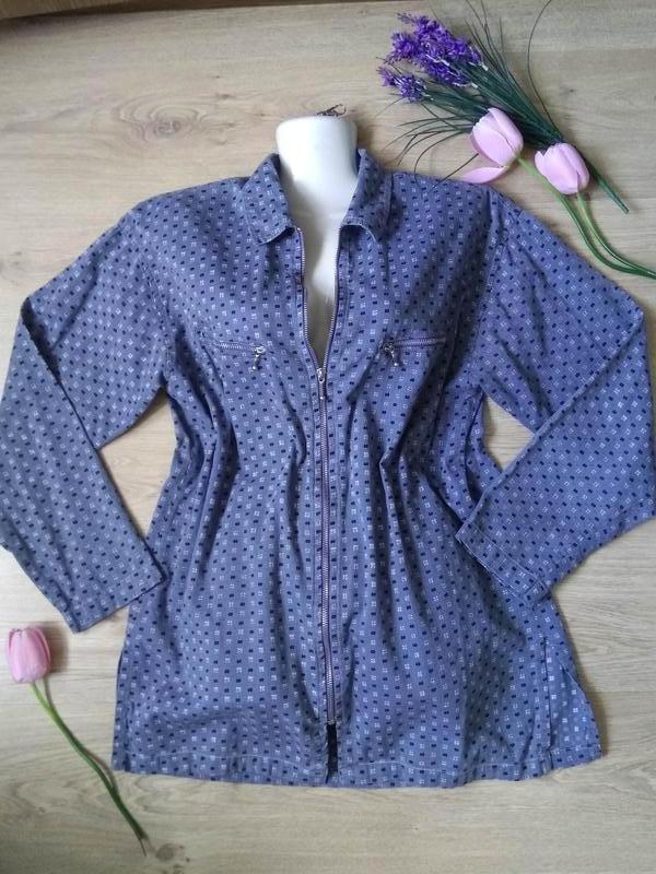 Голубая свободная рубашка на молнии/летняя курточка/кофта/блуз... - Фото 2