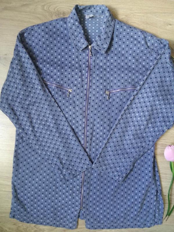 Голубая свободная рубашка на молнии/летняя курточка/кофта/блуз... - Фото 3