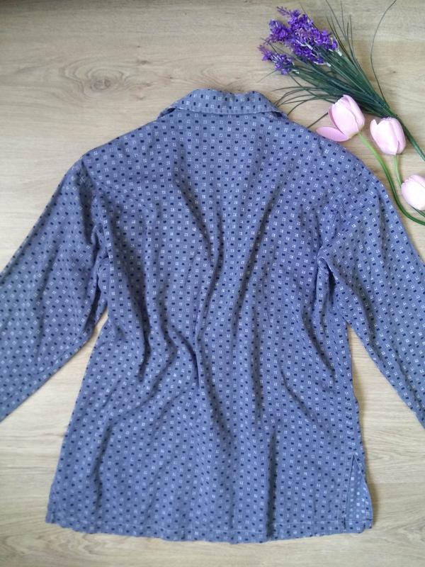 Голубая свободная рубашка на молнии/летняя курточка/кофта/блуз... - Фото 4