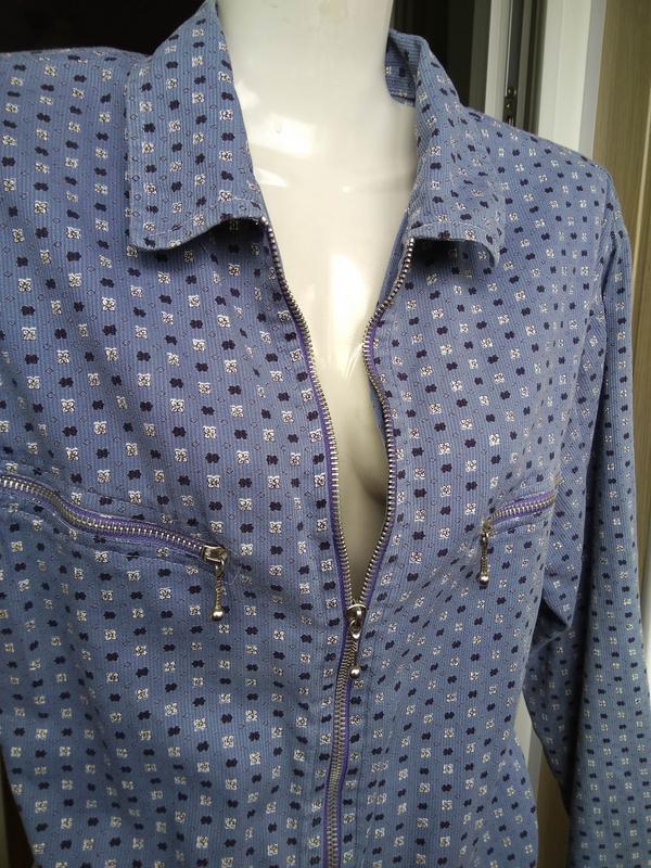 Голубая свободная рубашка на молнии/летняя курточка/кофта/блуз... - Фото 5