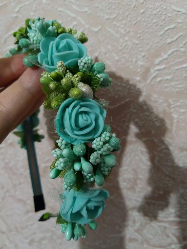 Бирюзовый ободок с розами