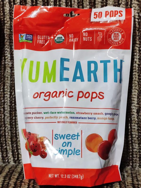 Органические леденцы на палочке YumEarth, 50 шт