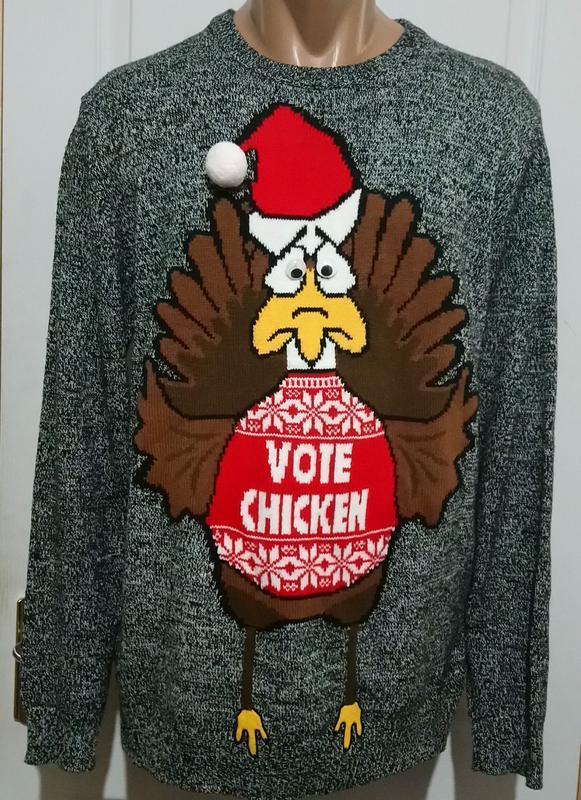 Новогодний меланжевый свитер с индюшкой