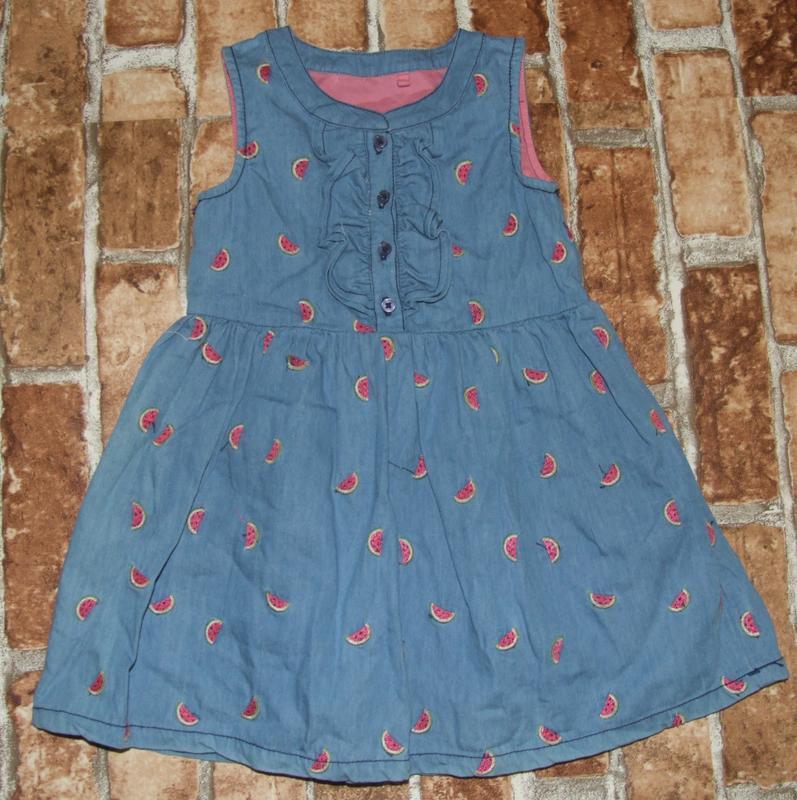 Шикарное катон джинс платье с вышивкой 12-18 мес