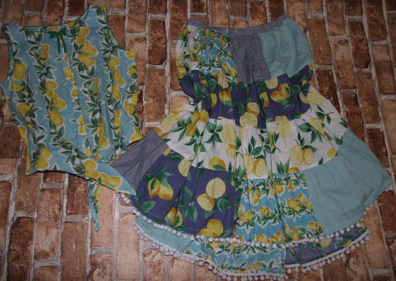 Костюм юбка топ котон лимоны хб 13-14лет некст