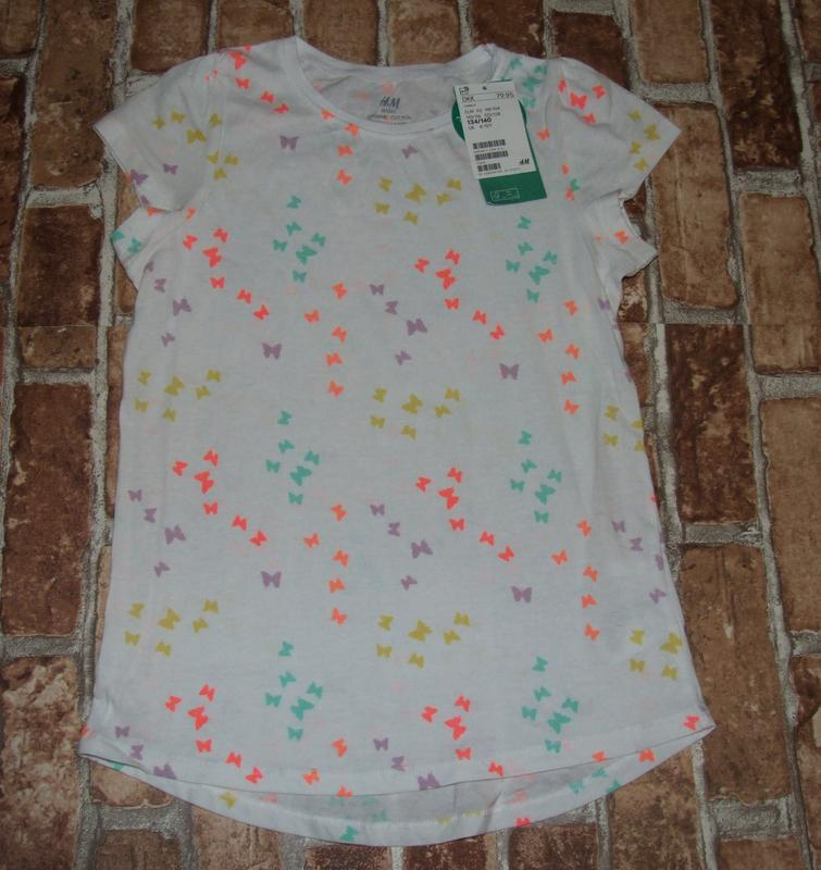 Хлопковая футболка h&m 8-10 лет