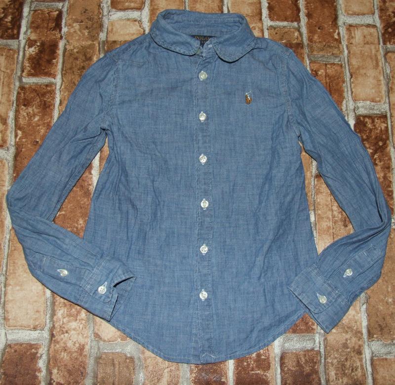 Рубашка тонкая джинс 7 лет ralph lauren