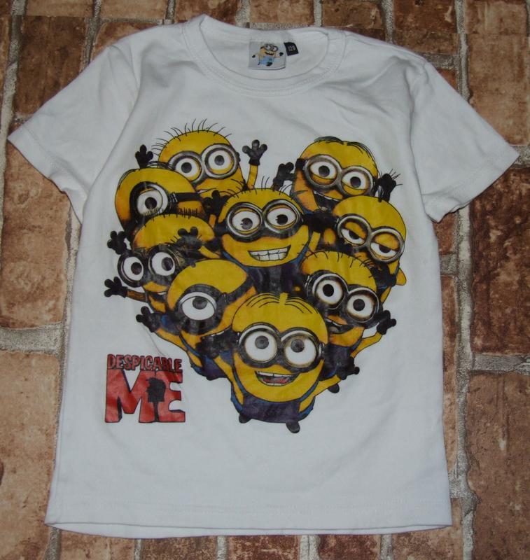 Хлопковая футболка с миньенами 6-8 лет