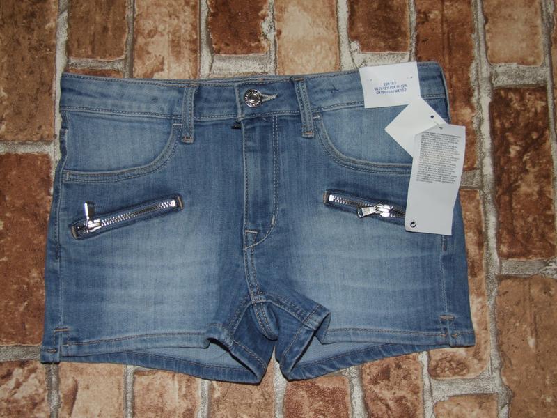 Новые стрейч джинсовые шорты 11-12 лет h&m