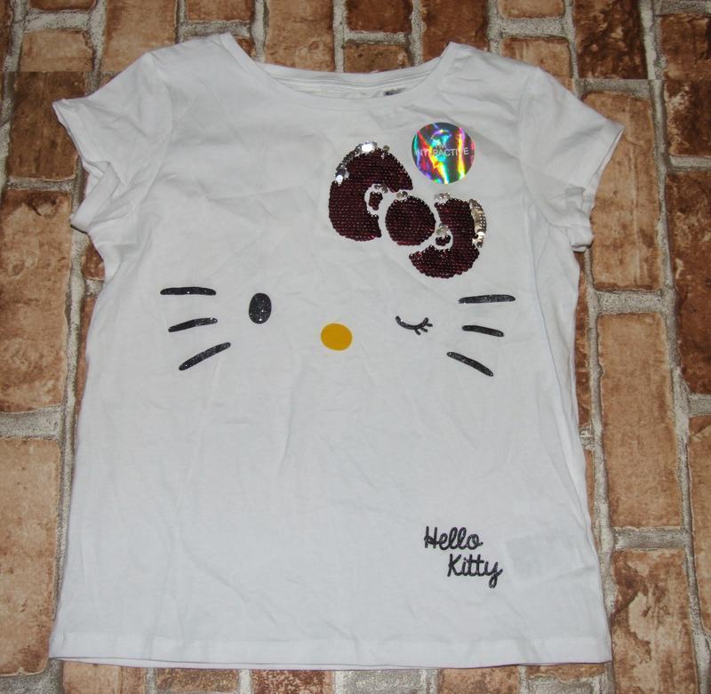 Новая хлопковая футболка 8-10 лет хелло кити h&m