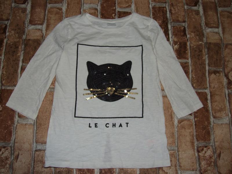 Хлопковая футболка с котенком  9-10 лет f&f