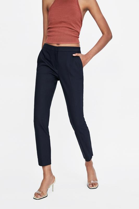 Темно синие классические брюки штаны зара xs