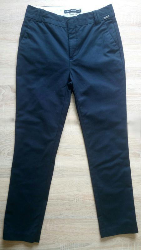 Темно синие классические брюки штаны зара xs - Фото 3
