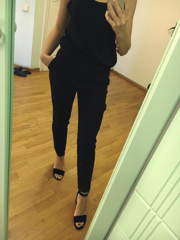 Темно синие классические брюки штаны зара xs - Фото 4