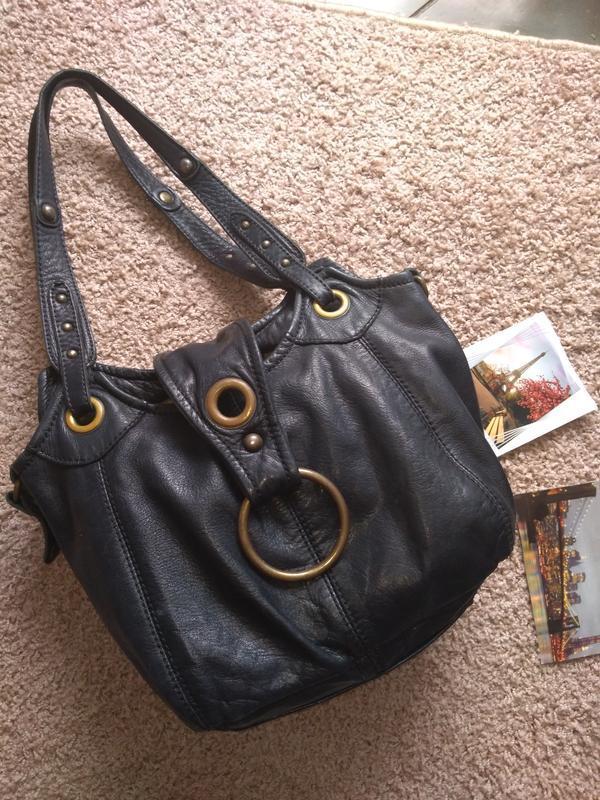 Кожная сумка river island черная genuine leather кожа