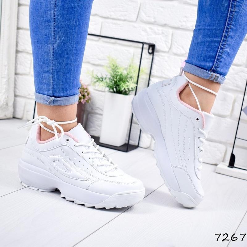 Белые женские кроссовки в стиле f розовая середина 36р-23 см