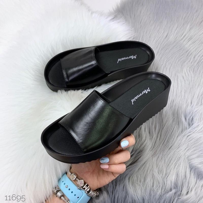 Черные кожаные шлепки, кожаные шлепанцы, 36р-23 см