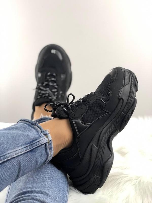 Топ кроссовки triple s full black. - Фото 4