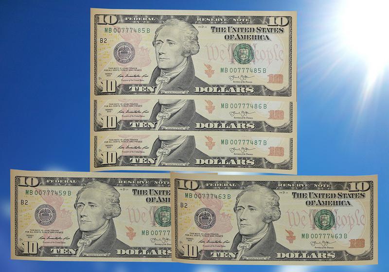 UNC Доллар США Купюра Интересный Номер Бона Деньги
