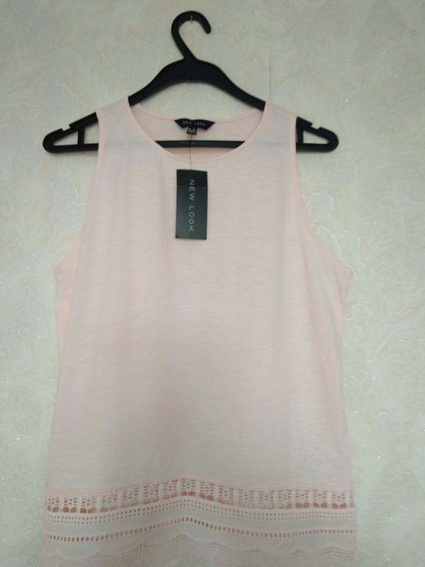 Натуральная летняя блуза майка нежно розового цвета бренда new...