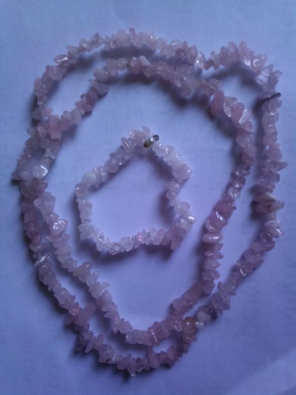 Комплект из  камней розового кварца